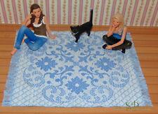 """T34 - Miniatur-Teppich """"Hellblau-weiß"""" für´s Puppenhaus 22,5 x 17,5 cm, 1:12"""