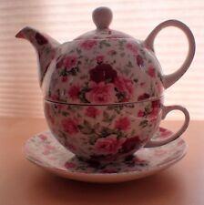 Bristol China Co England Rose Chintz Tea for One Set (Tea Cup, Saucer, Tea Pot)