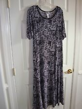 Robbie Bee Black/White Abstract Design Poly/Spandex Stretch Long Dress L EUC