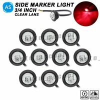 """10 X 3 LED Clear Lens Red 12V 3/4"""" Round Side Marker Light Ship Truck Waterproof"""