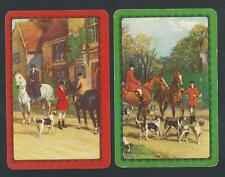 #100.337 vintage swap card -EXC pair- Hunting scenes with horses and dogs