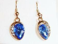 ROSE GOLD PLATED EARRINGS - BLUE TEARDROP CZs - GIFT BAG - FREE UK P&P.....W0442