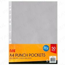 50x STRONG A4 Clear Plastic Wallet Transparent Punch Pocket Paper Document Cover