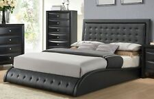 Queen Size Bedroom 1 piece Bed Tufted Black Finish Leatherette Bedroom Furniture