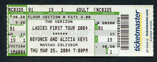 2004 Beyonce Alicia Keys Unused Full Concert Ticket Nassau Coliseum Uniondale