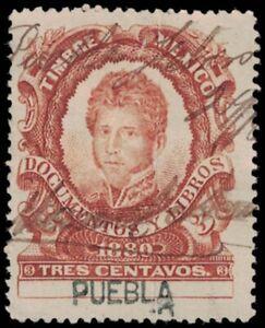 1880 MEXICO Revenue Stamp - Puebla, 3 Centavos A18M