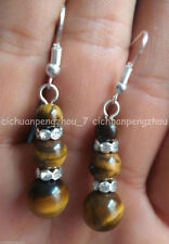 Natural 6-8-10mm Yellow African Tiger's Eye Round Gem Silver Hook Dangle Earring