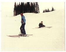 Vintage 80s PHOTO Pair Men Guys Skiers At Snow On Ski Slope