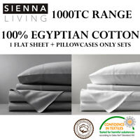 1000TC THREAD COUNT 100% EGYPTIAN COTTON FLAT SHEET + PILLOWCASES ONLY SET