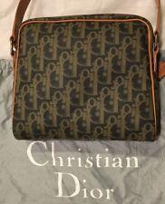 Authentic Christian Dior Tan/green Vinyl/leather handbag