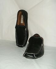 Steve Madden Men Solid Black Leather Upper Loafers Size 9M Pre owned FREE Shipin