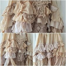 GYPSY VINTAGE LACE LONG SKIRT RODEO PRAIRIE ANTIQUE MAXI OSFM RITANOTIARA CREAM