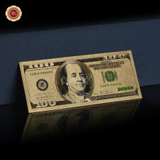 Wr 24K Gold Colored Us $100 Dollar Bill Bank Note Golden Paper Money Collection