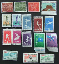 17 mint unmounted 1960 Olympics Rome stamps from 6 countries: Germany 3 Korea 1