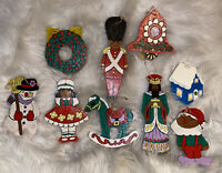 Vintage 1970s Lot 9 Hand Painted Wood Christmas Ornaments Cute & Colorful
