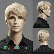 Men's Blonde Male New Short Wavy Wig Heat Resistant Halloween Cosplay Full Hair