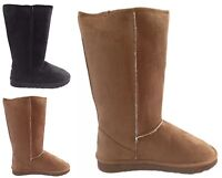 Womens Flat Soft Tall Fur Lined Boots Ladies Winter Calf Suede Shoes Size UK 3-8