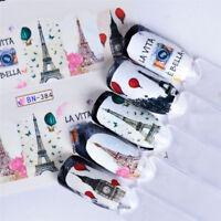 12 Designs Nail Art Sticker Water Transfer Decals Paris Maple Leaf Love Stickers