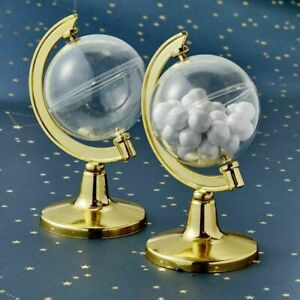 25-300 Mini Gold Globe Candy Container - Travel Theme Wedding Party Favor