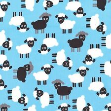 Robert Kaufman Fabric - Lambs - Light Blue - Urban Zoologie - 100% Cotton