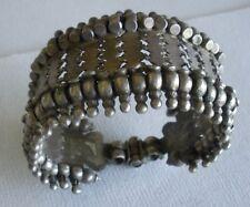 "Old Indian silver bracelet pin-closure interlocking segments 1.75"" wide 7.5""long"