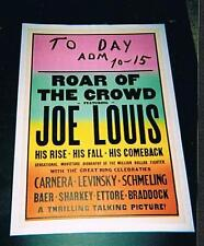 Rare Joe Louis 1 sheet boxing poster Carnera Levinsky Schmeling Baer Sharkey