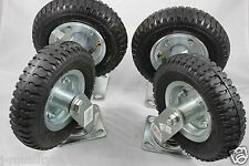 "4PC 8"" KNOBBY SWIVEL & FIXED WHEEL TERRAIN ROUGH SURFACE RUBBER TIRE CASTER"