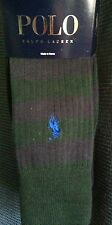 Ralph Lauren Polo 2-Pack Socks~Alpine Green and Black Striped/Solid Black~NWT