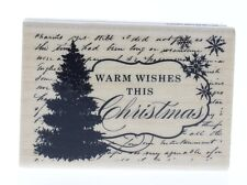 Hampton Art Warm Wishes this Christmas Tree Sentiment Wooden Rubber Stamp
