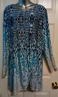 New Direction Blue/Gray Long Front Twisted Hi Lo Hem Tunic Top Size XL EUC