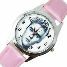 JUSTIN BIEBER MUSIC STAR SINGER Stainless Steel PINK LEATHER BAND ROUND CD WATCH