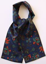 "Silk Cravat blue floral pattern print 39"" X 5"" Hand made in England"