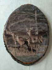 """Vintage Whitetail Deer Wood Wall Hanging Picture 11"""" X 8"""""""