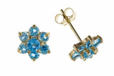 Blue Topaz Cluster Earrings Stud Solid Yellow Gold 9 Carat Studs Natural Stones