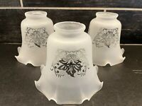 3 Vtg Frosted Clear Glass Chandelier Sconce Globe Shade Ruffled Edges Floral