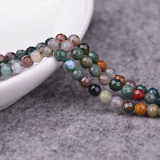 """8mm Faceted Round Indian Agate Beads Loose Gemstone Beads for Jewelry Making 15"""""""