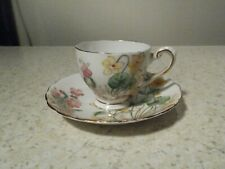 TUSCAN BONE CHINA ENGLAND DEMITASSE CUP AND SAUCER ALPINE FLOWERS