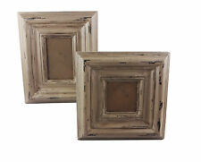 "Vintage Inspired Picture Photo Frame Square Distressed GREY BROWN  4"" x 6"" inch"