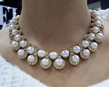 18K Yellow Gold  22ct Diamond Cultured  Pearl Necklace