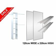 2 White Frame & Track  'Stanley Design'* Sliding Mirror Wardrobe Doors & Storage