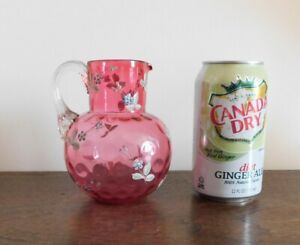 Hand Painted Pink Art Glass Hand Blown Pitcher / Creamer - Clear Applied Handle