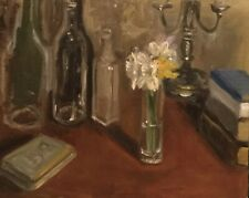 New ListingBottles And Flowers Still Life Original Oil Painting