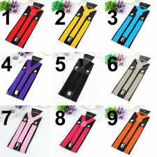Unisex Elastic Y-Shape Braces Mens Womens Adjustable Adjust Clip-on Suspenders