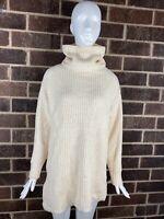 Free People Ivory Chunky Knit Oversized Cowl Neck Sweater Tunic Women's Size XS