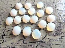 Vintage GLASS Cabochons White Opal Gold Foil West Germany 12x10mm (18 stones)