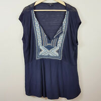 [ LUCKY BRAND ] Womens Embroidered Bib Boho Top | Size XL or AU 16 / US 12