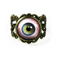Human Eyeball Taxidermy Eye Glass Halloween Horror Antique Bronze Filigree Ring