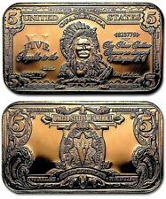 Indian Chief $5 Dollar Banknote 1oz. Pure Copper Bullion Bar!!