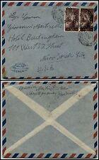 REPUBBLICA-Coppia 50 L Democratica(564)-Busta MONTAGNANA x New York 6.12.1949