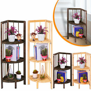 Corner Shelf/Shelving Rack Unit Display Stand Decoration Plants Natural Wood